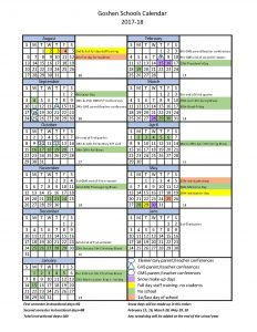 Goshen Community Schools 2017-18 Calendar in English