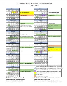 Goshen Community Schools 2017 - 18 Calendar in Spanish